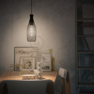 Pendant lamp with fabric cable, Magnum bottle lampshade and metal details - Made in Italy