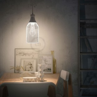Pendant lamp with fabric cable, Jéroboam bottle lampshade and metal details - Made in Italy