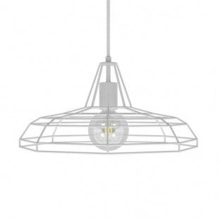 Pendant lamp with fabric cable, Sonar lampshade and metal details - Made in Italy