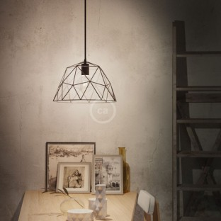 Pendant lamp with fabric cable, Dome lampshade and metal details - Made in Italy