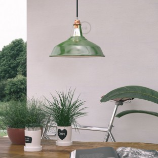 Pendant lamp with fabric cable, Harbour lampshade and metal details - Made in Italy