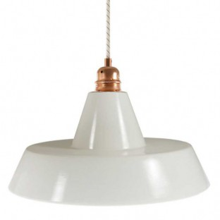 Pendant lamp with fabric cable, Industrial ceramic lampshade and metal finishes - Made in Italy