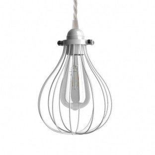 Pendant lamp with fabric cable, Drop cage lampshade and metal details - Made in Italy
