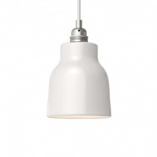 Pendant lamp with fabric cable, Vase ceramic lampshade and metal details - Made in Italy