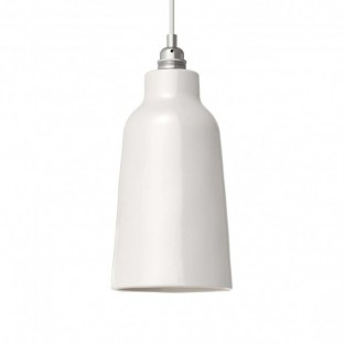 Pendant lamp with fabric cable, Bottle ceramic lampshade and metal details - Made in Italy