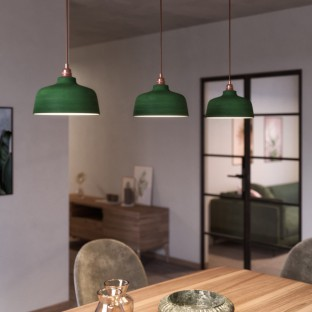Pendant lamp with fabric cable, Cup ceramic lampshade and metal details - Made in Italy