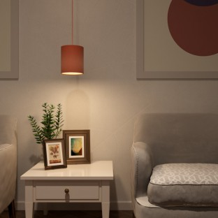 Pendant lamp with fabric cable, Cylinder fabric lampshade and metal details Made in Italy