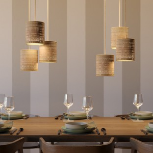 Pendant lamp with fabric cable, raffia Cylinder lampshade and metal details - Made in Italy