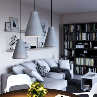 Pendant lamp with fabric cable, Funnel cement lampshade and metal details - Made in Italy