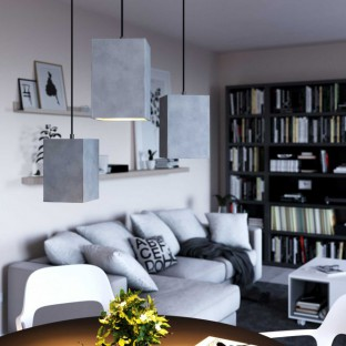 Pendant lamp with fabric cable, Cube cement lampshade and metal finishes - Made in Italy