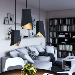 Pendant lamp with fabric cable, Prisma cement lampshade and metal finishes - Made in Italy