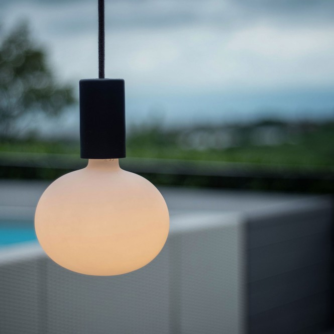 EIVA ELEGANT Outdoor pendant lamp with 1,5 mt textile cable, silicone ceiling rose and lamp holder IP65 water resistant