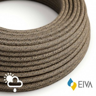 Outdoor round electric cable covered in Natural Linen SN04 Brown - IP65 suitable for EIVA system