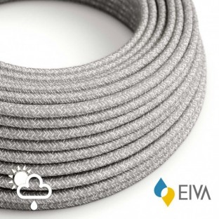 Outdoor round electric cable covered in Natural Linen SN02 Grey - IP65 suitable for EIVA system
