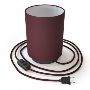 Posaluce in metal with Burgundy Canvas Cilindro lampshade, complete with fabric cable, switch and 2-pin plug