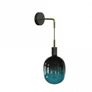 Fermaluce Leather, leather covered wooden wall light with bent extension and pendant lamp holder