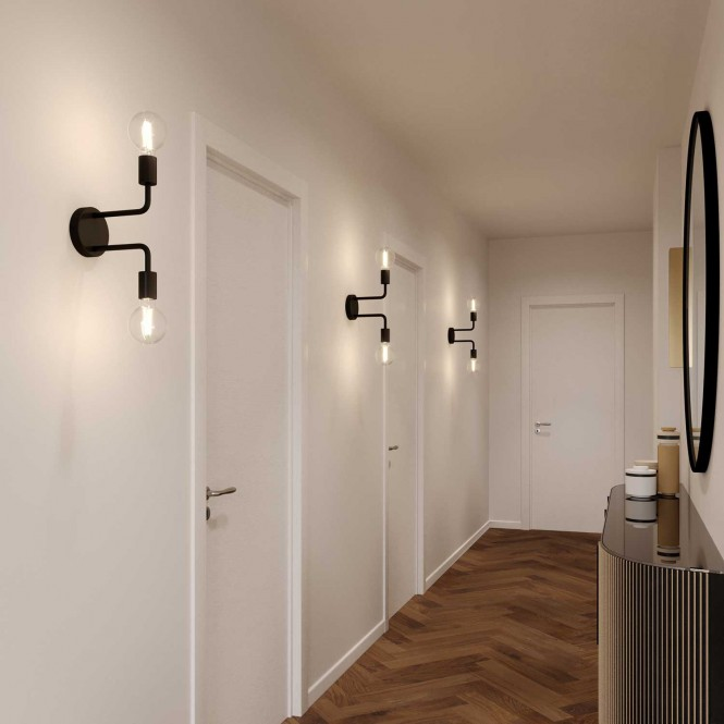 Fermaluce Metal, metal wall light with double bent extension