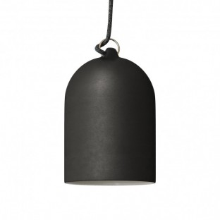 Pendant lamp with fabric cable and lampshade Mini Bell XS ceramic shade - Made in Italy