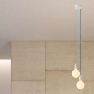 2-light multi-pendant lamp featuring fabric cable and metal finishes