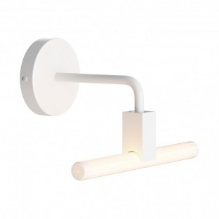 Minimal wall lamp with S14d Syntax socket and metal black bent extension pipe