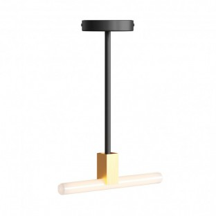 Minimal ceiling lamp with S14d Syntax socket and 30 cm metal black extension pipe