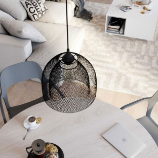 Suspension lamp with fabric cable, Ghostbell XL cage lampshade and metal details - Made in Italy