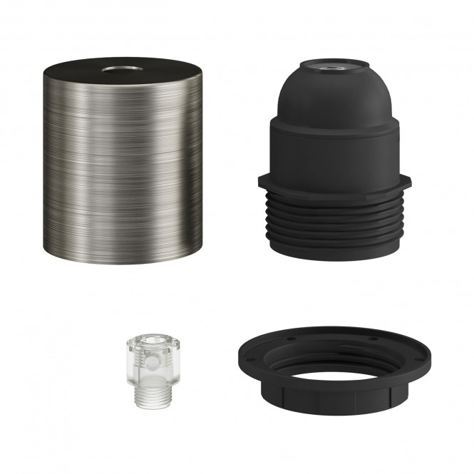 E27 semi-flush metal lamp holder kit with concealed cable clamp
