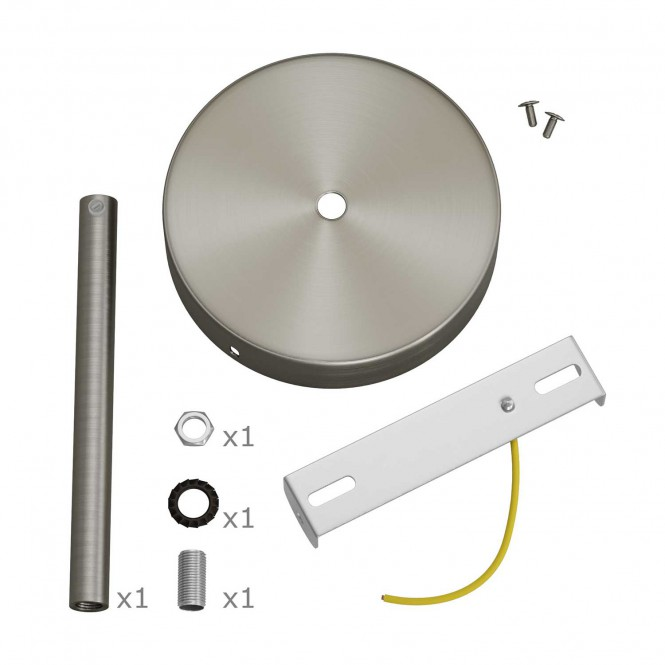Cylindrical metal ceiling rose kit with 15 cm cable clamp