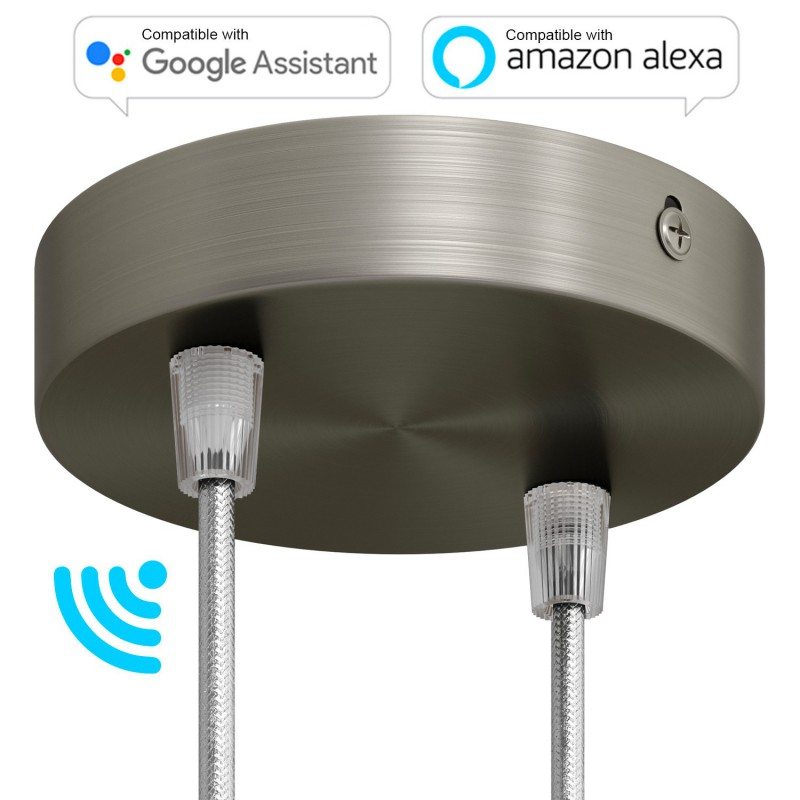 SMART cylindrical metal 2-hole ceiling rose kit - compatible with voice assistants
