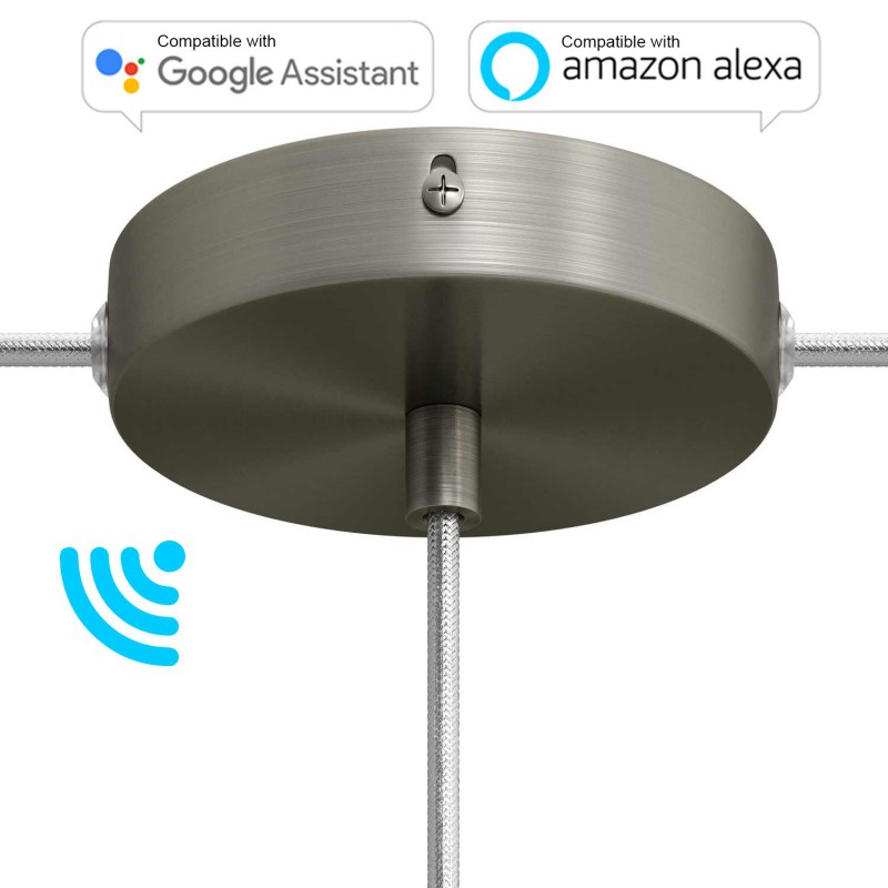 SMART cylindrical metal 1 central hole + 2 side holes ceiling rose kit - compatible with voice assistants