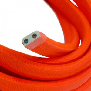 Electric cable for String Lights, covered by Rayon fabric Orange Fluo CF15