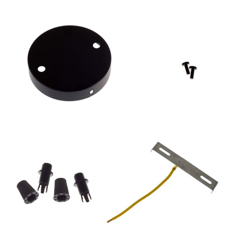 Mini cylindrical metal 2 central holes + 4 side holes ceiling rose kit