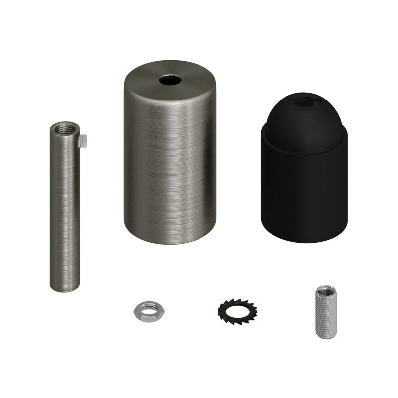 Cylindrical metal E27 lamp holder kit with 7 cm cable clamp