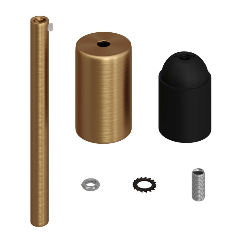 Cylindrical metal E27 lamp holder kit with 15 cm cable clamp