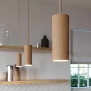 Pendant lamp complete with textile cord and Tub-E14 wooden shade - Made in Italy