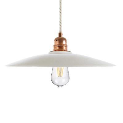 Pendant lamp with fabric cable, ceramic Dish lampshade and metal details - Made in Italy