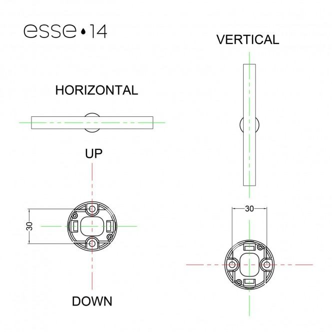 Esse14 wall or ceiling lamp for linear LED bulb S14d - Waterproof IP44