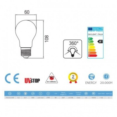 Light bulb filament Led Drop 6.5W E27 Clear