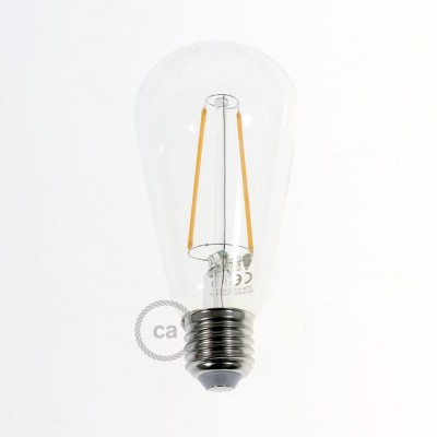 LED Transparent Light Bulb - Edison ST64 Long Filament 4W Decorative Vintage 2200K