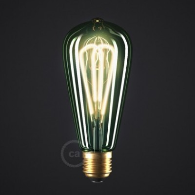 LED Emerald Light Bulb - Edison ST64 Curved Double Loop Filament - 5W E27 Dimmable 2200K