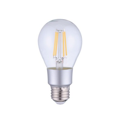 LED Smart Wifi Light Bulb A60 Drop Transparent with Straight Filament 6W E27 Dimmable 2700K
