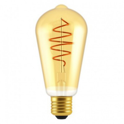 LED Bulb Edison ST64 Golden Croissant Line with Spiral Filament 5W E27 Dimmable 2000K