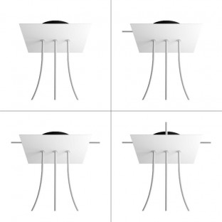 Square Rose-One 3 in-line holes and 4 side holes ceiling rose, 200 mm