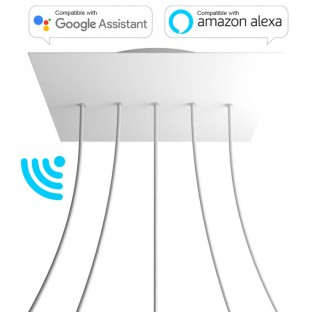 Large Square Smart ceiling rose, 400 mm Panel Rose-One with 5 in-line holes - compatible with voice assistants
