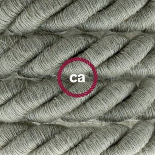 XL electrical cord, electrical cable 3x0,75. Natural linen fabric covering. Diameter 16mm.