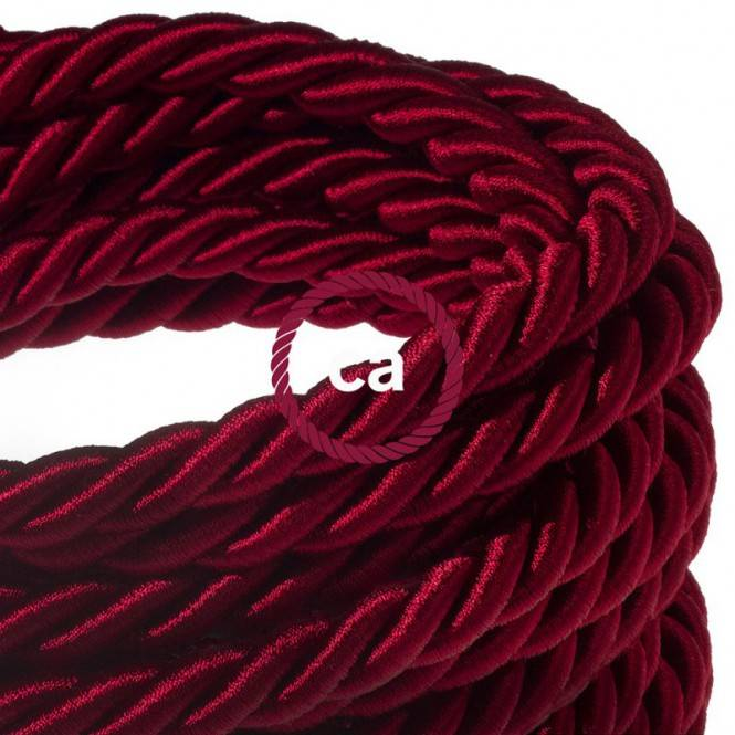 XL electrical cord, electrical cable 3x0,75. Shiny dark bordeaux fabric covering. Diameter 16mm.