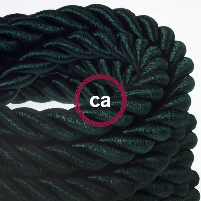 2XL electrical cord, electrical cable 3x0,75. Shiny dark green fabric covering. Diameter 24mm.