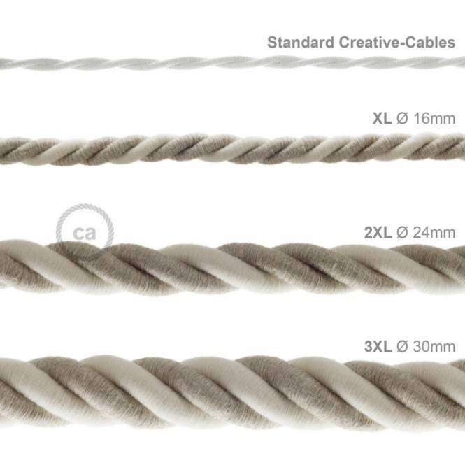 3XL electrical cord, electrical cable 3x0,75. Natural linen and raw cotton fabric covering. Diameter 30mm.