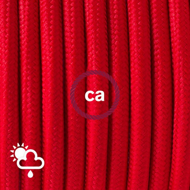 Outdoor round electric cable covered in Red Rayon SM09
