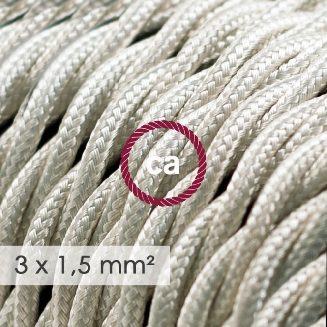 Large section electric cable 3x1,50 twisted - covered by rayon Ivory TM00